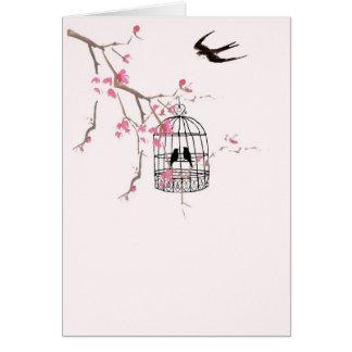 Flor de cerezo y trago tarjeta pequeña