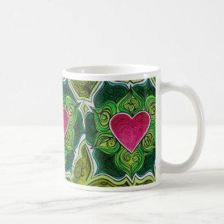 Flor de Charka Lotus del corazón Tazas De Café