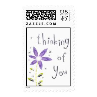 Flor de color de malva bonita que piensa en usted timbre postal