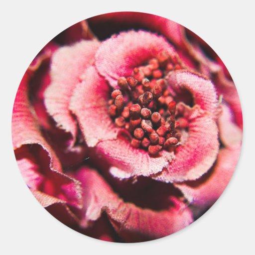 Flor de color de malva etiqueta redonda