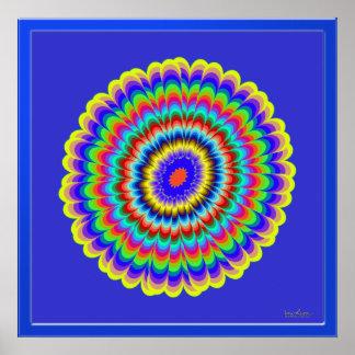 Flor de cristal en azul póster