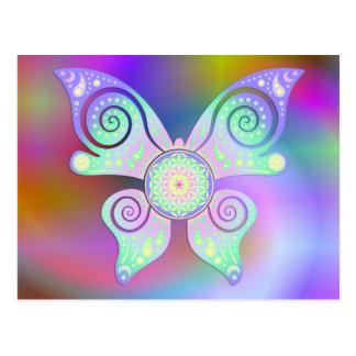 Flor de DES Lebens - mariposa de la vida/de Blume Tarjetas Postales