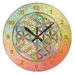 Flor de DES Lebens - oro de la vida/de Blume color Reloj Redondo Grande