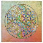 Flor de DES Lebens - oro de la vida/de Blume color Servilleta Imprimida