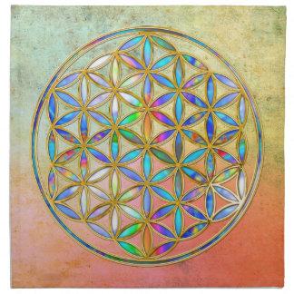 Flor de DES Lebens - oro de la vida de Blume color Servilleta Imprimida