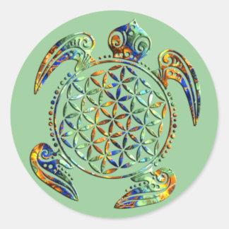 Flor de DES Lebens - tortuga de la vida/de Blume Pegatina Redonda