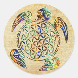 Flor de DES Lebens - tortuga de la vida/de Blume Pegatinas Redondas