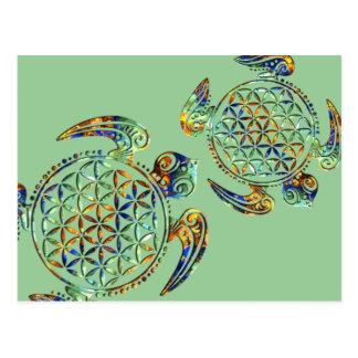 Flor de DES Lebens - tortuga de la vida/de Blume Tarjetas Postales