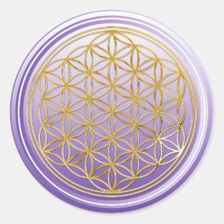Flor de DES Lebens - violeta de la vida/de Blume Pegatina Redonda