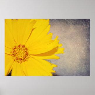 Flor de encargo del amarillo de la impresión de la póster