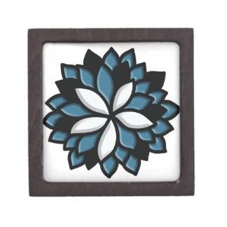Flor de encargo del azul del vitral caja de recuerdo de calidad