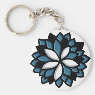 Flor de encargo del azul del vitral llaveros personalizados