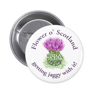 ¡Flor de Escocia - consiguiendo jaggy con ella! Pin Redondo De 2 Pulgadas