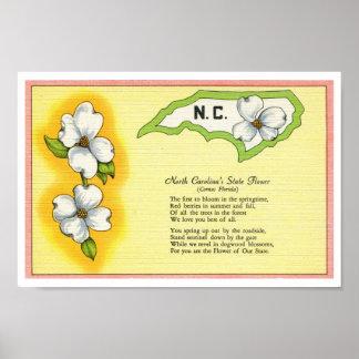 Flor de estado de Carolina del Norte del vintage,  Póster