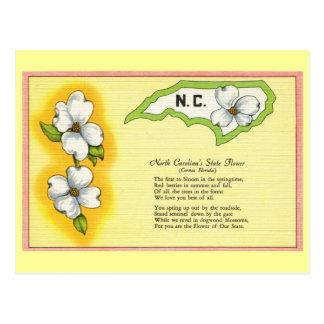 Flor de estado de Carolina del Norte del vintage,  Postal