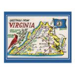 Flor de estado del mapa de Virginia de los saludos Tarjetas Postales