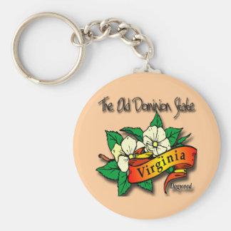 Flor de estado vieja del dominio de Virginia Llavero Redondo Tipo Pin