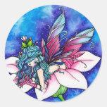 Flor de hadas de la fantasía de Vera Etiquetas Redondas