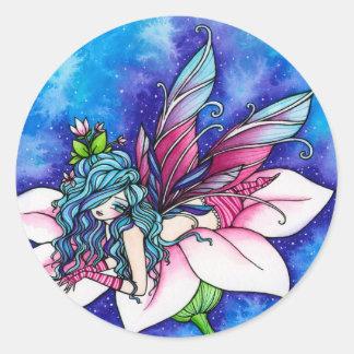 Flor de hadas de la fantasía de Vera Pegatina Redonda