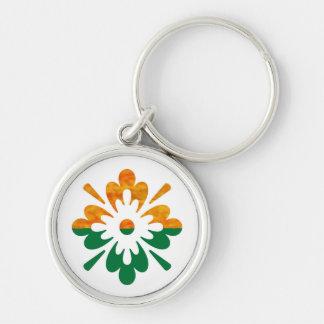 Flor de HappyDance: Disfrute de la parte de n la Llavero Redondo Plateado