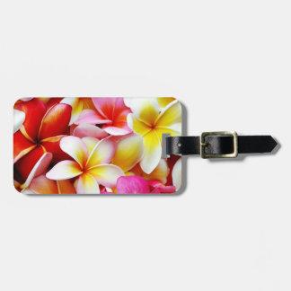 Flor de Hawaii del Frangipani del Plumeria Etiquetas Para Maletas