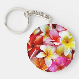 Flor de Hawaii del Frangipani del Plumeria Llavero Redondo Acrílico A Doble Cara