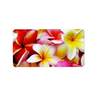 Flor de Hawaii del Frangipani del Plumeria modific Etiqueta De Dirección