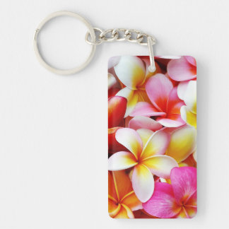 Flor de Hawaii del Frangipani del Plumeria modific Llavero Rectangular Acrílico A Doble Cara