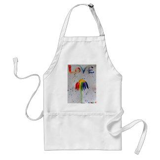 Flor de la acuarela del amor del arco iris delantal