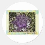 Flor de la alcachofa pegatina redonda