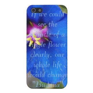 Flor de la amapola azul con la caja de la mota del iPhone 5 carcasas