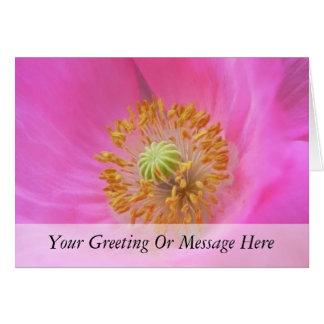 Flor de la amapola de las rosas fuertes tarjetón