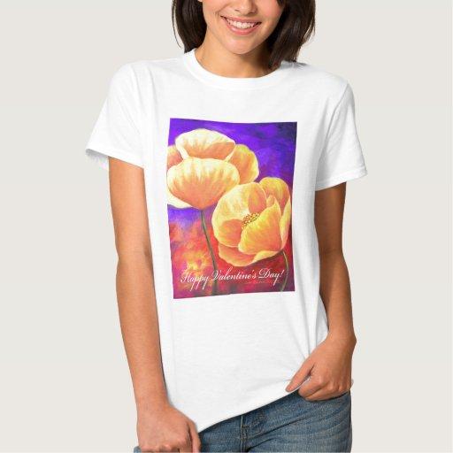 Flor de la amapola del amarillo del regalo del día tee shirts