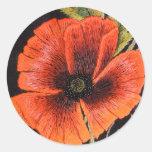 Flor de la amapola pegatinas redondas