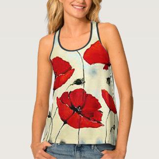Flor de la amapola que pinta las camisetas sin