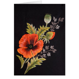 Flor de la amapola tarjeta de felicitación