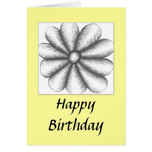 Flor de la amistad del feliz cumpleaños tarjeta de felicitación