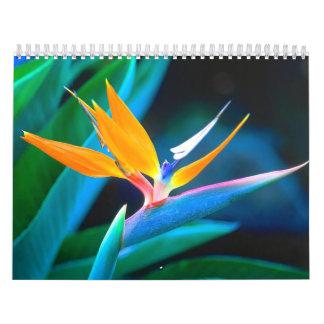 Flor de la ave del paraíso calendario de pared