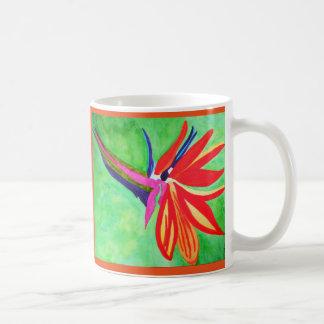 Flor de la ave del paraíso de la acuarela taza