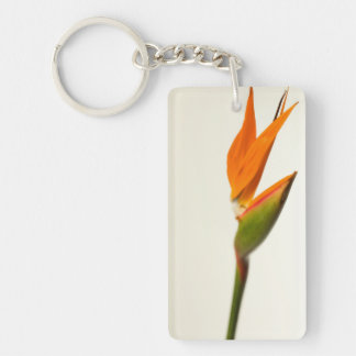 Flor de la ave del paraíso llavero rectangular acrílico a doble cara