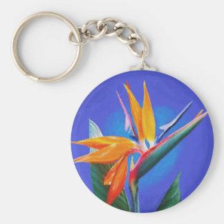 Flor de la ave del paraíso llavero redondo tipo pin