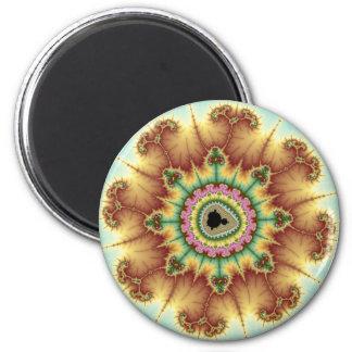 Flor de la caída - arte del fractal imán redondo 5 cm