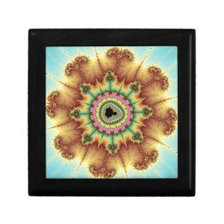 Flor de la caída - arte del fractal joyero cuadrado pequeño