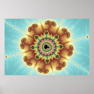 Flor de la caída - arte del fractal póster