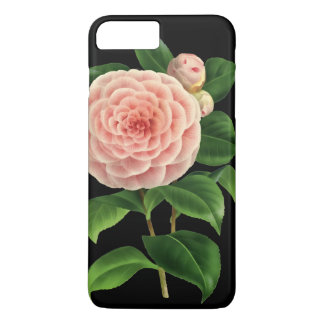 Flor de la camelia del vintage botánico funda iPhone 7 plus
