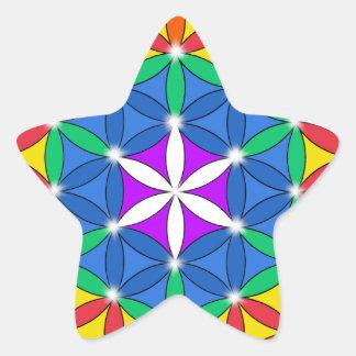Flor de la chispa de Chakra de la vida Pegatina En Forma De Estrella