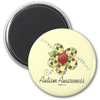 Flor de la conciencia del autismo imán redondo 5 cm