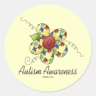 Flor de la conciencia del autismo etiqueta redonda