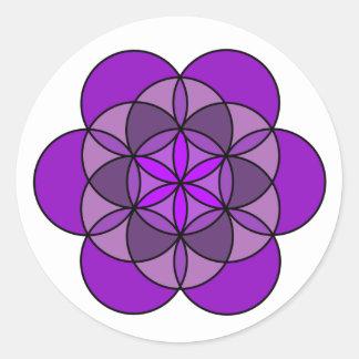 Flor de la corona de la vida pegatina redonda