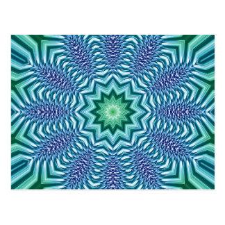 Flor de la estrella del azul y del verde tarjetas postales